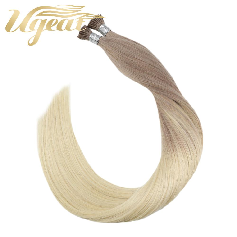 Ugeat  I Tip Stick Keratin Hair Extensions Pre Bonded Machine Remy Fusion Hair 14-24'' 40g/80g Straight 100% Human Hair Balayage