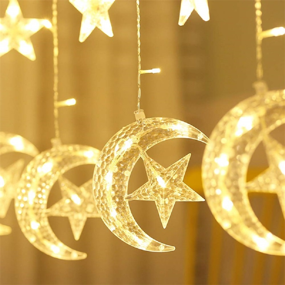 138LED Moon Star Garland Led Curtain Fairy String Light Holiday Christmas Light For Wedding Home Party Garden Ramadan Decoration