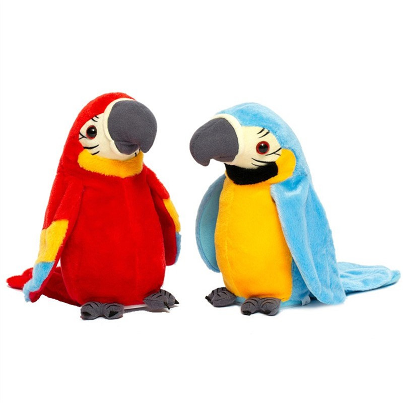 Talking Parrot Plush Toys With Speaking and Recording Repeats Flapping Wings Electronic Educational Plush Toys For Kids Gifts