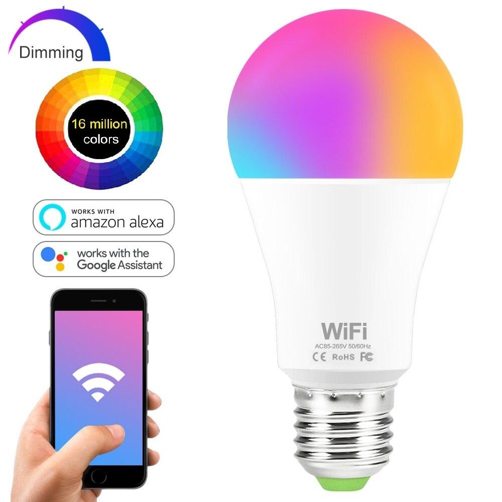 Умсветильник лампа с Wi-Fi, 15 Вт, RGB-лампа E27 B22 с регулируемой яркостью, умная лампа с голосовым управлением, волшебная лампа, 220 В переменного то...