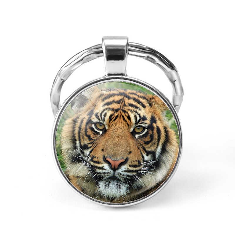 虎動物ガラスドームキーホルダーカボション金属キーチェーンリング王の森のファッションアクセサリーの宝石のペンダントギフト