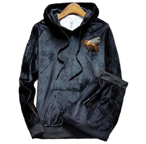 Men's Hood Patch Velour Velvet Sport Sweatshirt Tracksuit Track Suit Outwear 2PC Jacket Coat Pants Trousers Sets Outfits