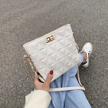New Solid Color Lattice Small Soft PU Leather Bags For Women