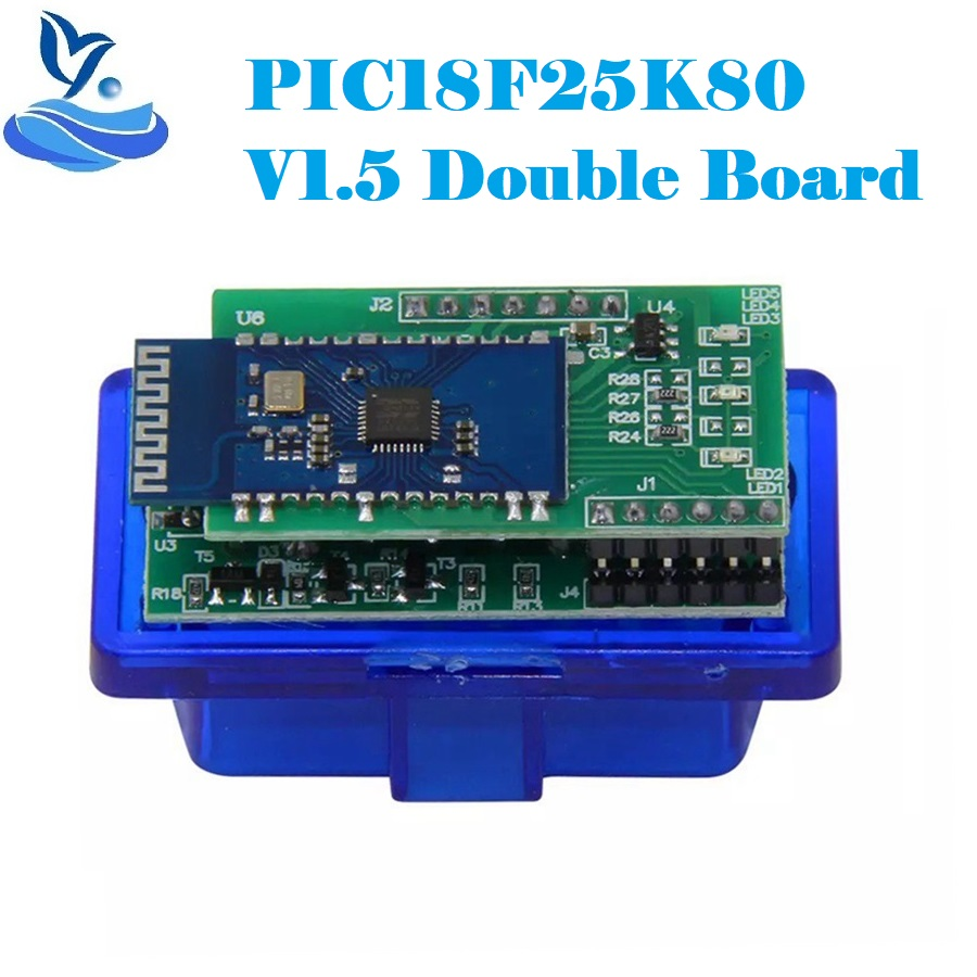 Считыватель кодов V1.5 OBD2 ELM327 с двумя 2PCB, чип PIC18F25K80, прошивка 1,5 ELM 327 Bluetooth OBD2, Диагностический Интерфейс V1.5 ELM 327