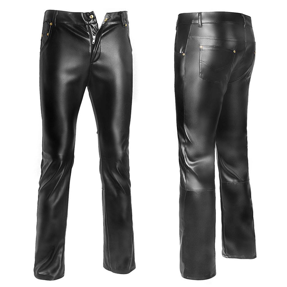Fashion skinny leather pants men casual slim washing Locomotive leather pants men pants