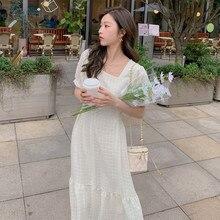 Dress Small First-Love Collar White of Long Chiffon Skirt Square Xia Waist Temperament