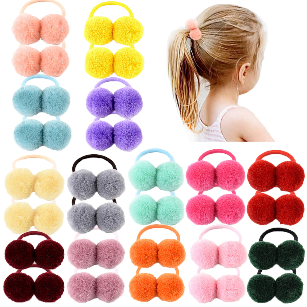 14pcs/lot 1.4″ Small Solid Double Fur Ball With Elastic Rope Handmade Hair Band For Kids Girls Hair Accessories