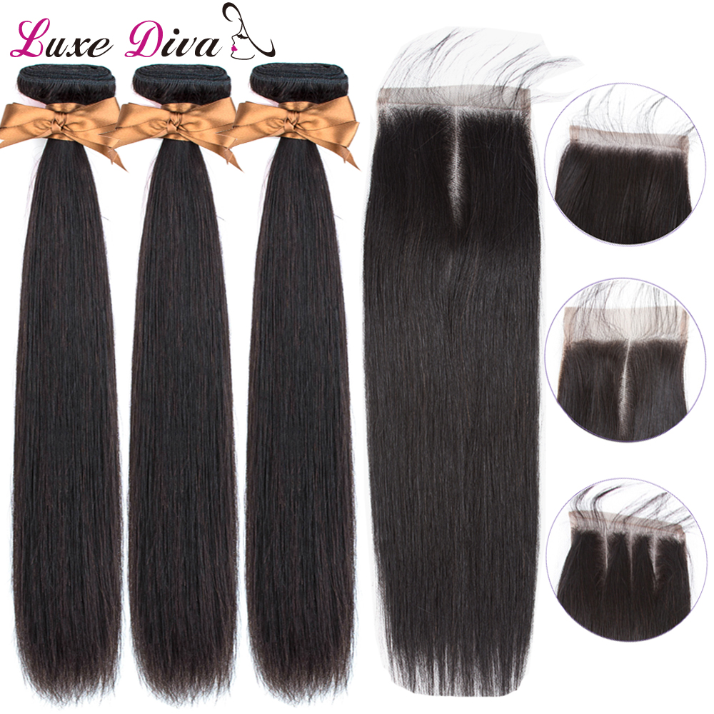 Luxediva Hair Bundles With Closure Brazilian Straight Hair Weave Bundles With Closure Human Hair Bundles With Closure NRemy Hair