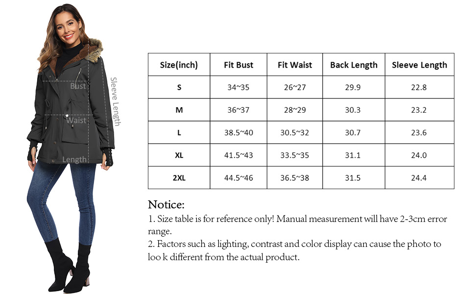 Grace Karin Women Parka Winter Warm Jacket Outwear Faux Fur Hooded Coat Fleece Lined Womens Winter Clothes Jacket and Coat Parka