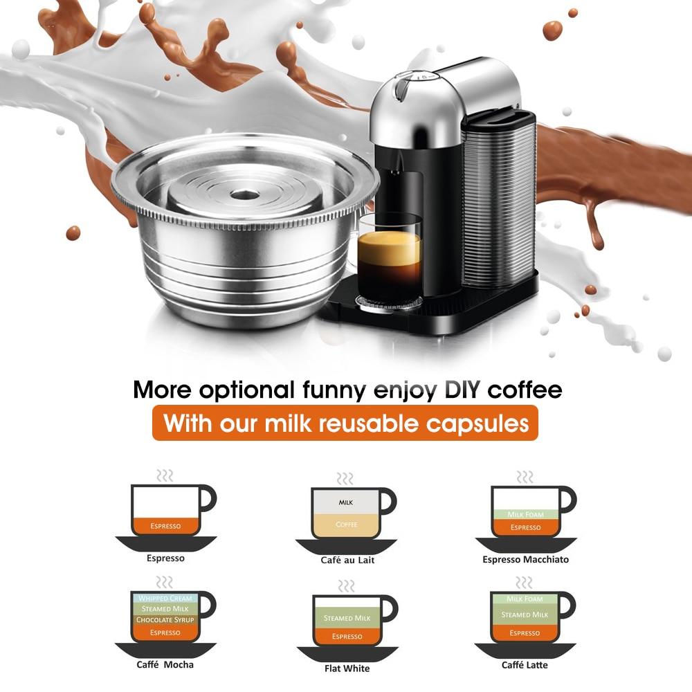 Espresso Capsulas Recargables Nespresso Vertuoline &Vertuo Stainless Steel (G2) Refillable Capsule Reusable Filter Ods