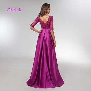 Image 4 - Purple Half Sleeves Evening Dresses 2020 Elegant Lace Appliqued Beaded Long Formal Gowns Illusion V Neck Satin Prom Dress