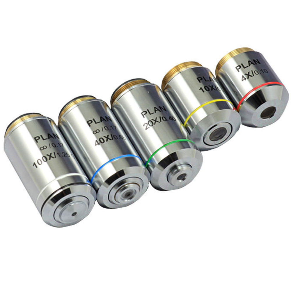 Silver Biological Microscope 4X 10X 20X 40X 100X Infinity Plan Objective Lens RMS Thread For Olympus Microscope