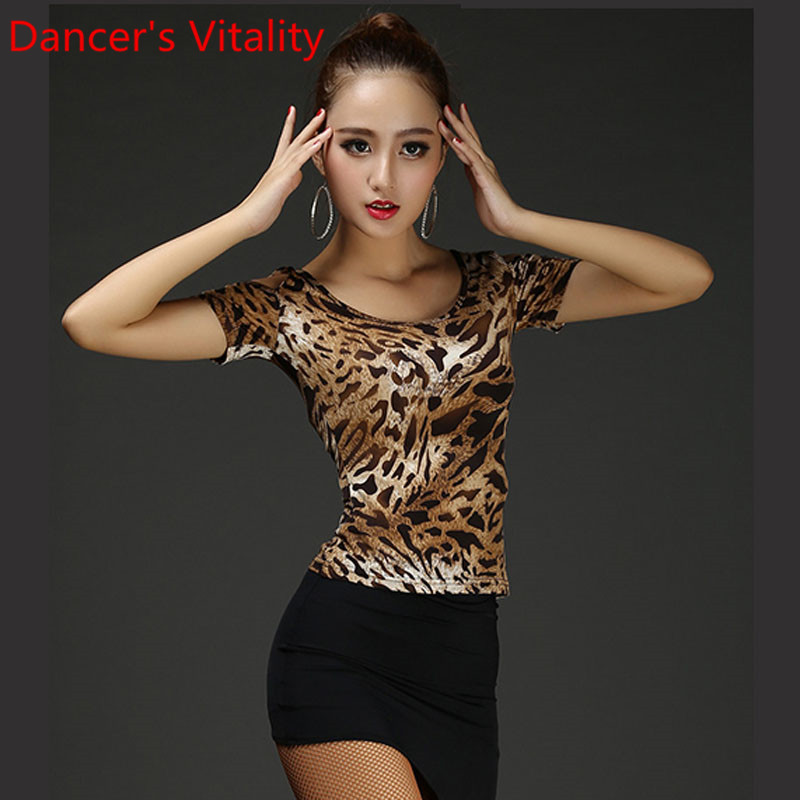 Latin Dance Practice Clothes Women Short Sleeve Cut Out Top Tango Cha Cha Salsa Foxtrot Quickstep Dancing Stage Training Outfits