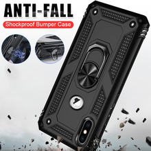 Luxury Silicone Armor Bumper Shockproof Phone Case For iPhone 7 8 Plus X XR XS Max Case For iPhone XS 6 6S Plus With Finger Ring цена и фото