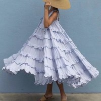 Bohemian Laminated Ruffles Cupcake Dress Women Straps Bow Sleeveless Beach Party Dress Summer Solid Mid Loose Dress