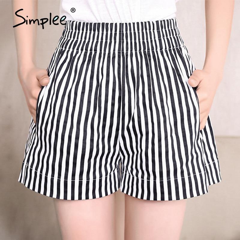 Simplee Vintage Striped Women Shorts Summer 2020 Holiday Retro High Waist Female Shorts Casual Ladies Slim Beach Hot Shorts