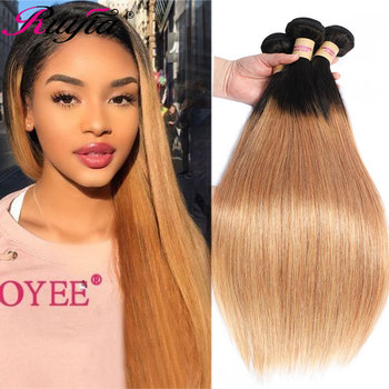Peruvian Straight Hair Weave Bundles Hondy Blonde Ombre Human T1B 27 Colored Extension