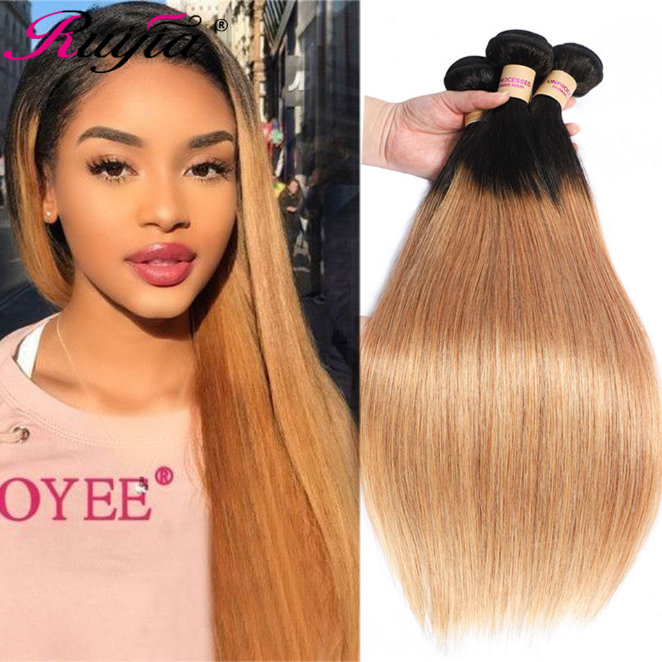 Peruvian Straight <font><b>Hair</b></font> Weave Bundles Hondy Blonde Ombre Human <font><b>Hair</b></font> Bundles T1B 27 Colored Human <font><b>Hair</b></font> Extension Straight Bundles image
