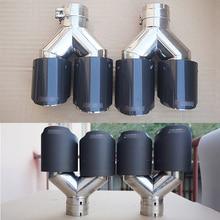 2pcs Car Exhaust Tail Pipe Escape Carbon Fiber 63mm Inlet 89mm Dual Outlet Muffler
