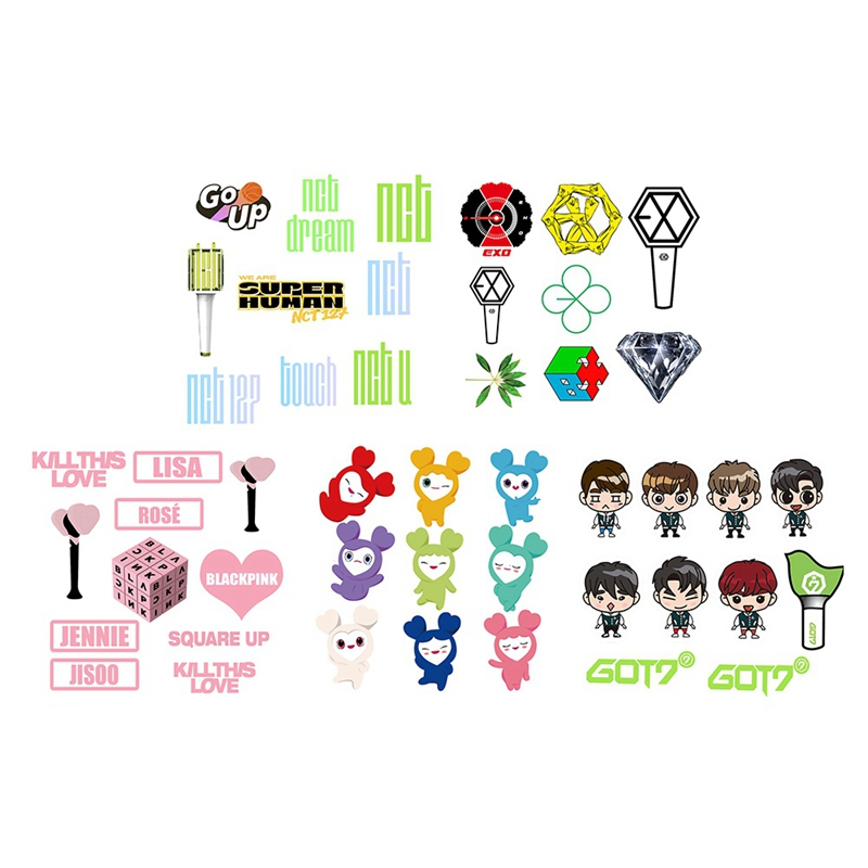 TWICE NCT EXO GOT7 BLACKPINK Bubble Stickers Three-dimensional Stickers Love Letters  Cartoon Version Stickers