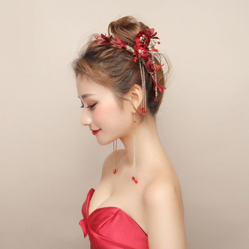 Винтажные красные тканевые цветочные аксессуары для ухода за волосами свадебный головной убор невесты с кисточками, набор украшений, женск