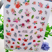 3d colorido fresco flor unhas adesivos arte rosa pétalas vermelhas folhas auto-adesivo manicure decalques sliders para unhas decorações