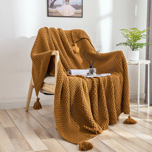Chunky Knit Blanket For Beds Hand-knitted Sofa Blanket Photo Prop Tassel Weighted Blanket Air Conditioning Blanket Travel Picnic