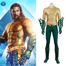 Manluyunxiao Aquaman Cosplay Arthur Curry Suits Halloween Costumes for Men Adult Justice League Superhero Jumpsuit Custom Made