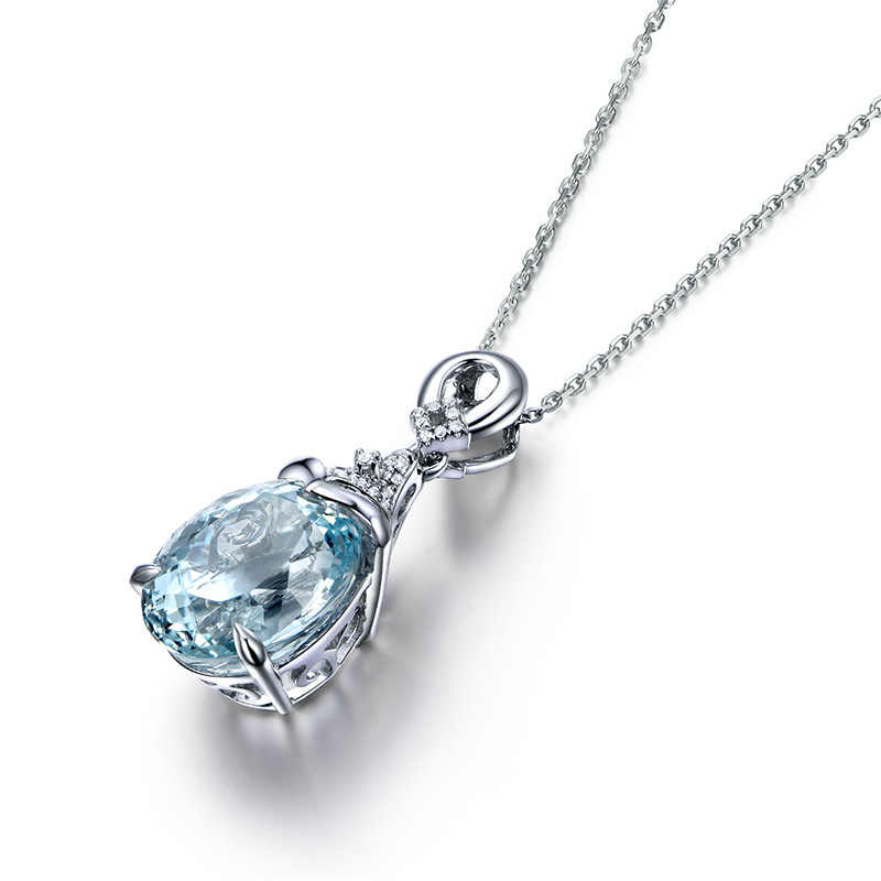 DISINIYA Halskette Für Frauen Silber 925 Schmuck Schlüsselbein Kette Aquamarin Anhänger Meerjungfrau Ozean Valentine Mode Geschenk XDX80130