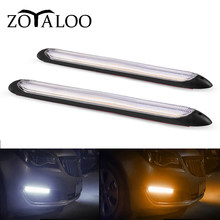 2pcs Universal Led Car DRL Daytime Running Lights Waterproof DC 12V Auto Headlight Sequential Turn Signal Yellow Flow Day Light