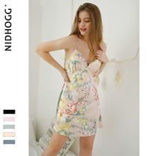Verão 2009 sexy spaghetti strap sleepwear feminino sem mangas dormir vestido clássico flor impressão noite vestido europa nightwear