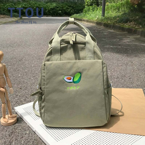 Image 1 - Fashion Avocado Fruit Embroidery Women Backpack Shoulder Bag Waterproof Nylon Bagpack Casual Schoolbag for Teens female backpack