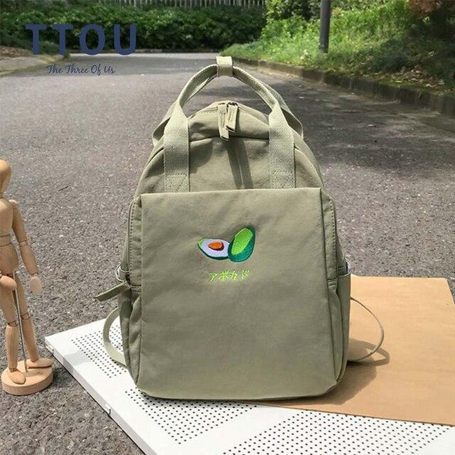 Fashion Avocado Fruit Embroidery Women Backpack Shoulder Bag Waterproof Nylon Bagpack Casual Schoolbag for Teens female backpack
