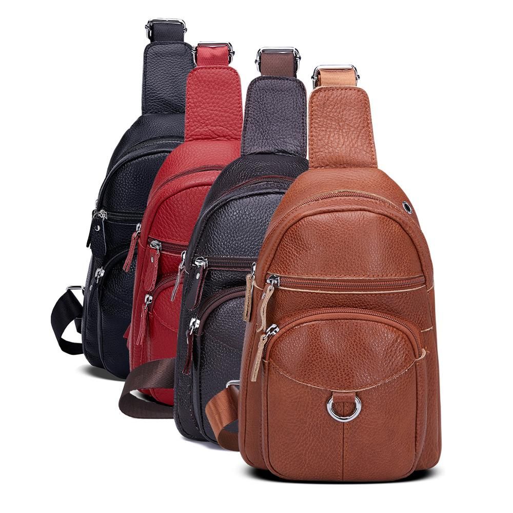 Women Vintage Genuine Leather Satchel Shoulder Sling Small Chest Bag Pack Travel Hiking Sports Shoulder Backpack Cross Body