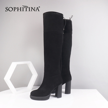 Square Heel Boots SOPHITINA Comfortable Shoes Cow-Suede Fashion High-Quality SC495 Round-Toe