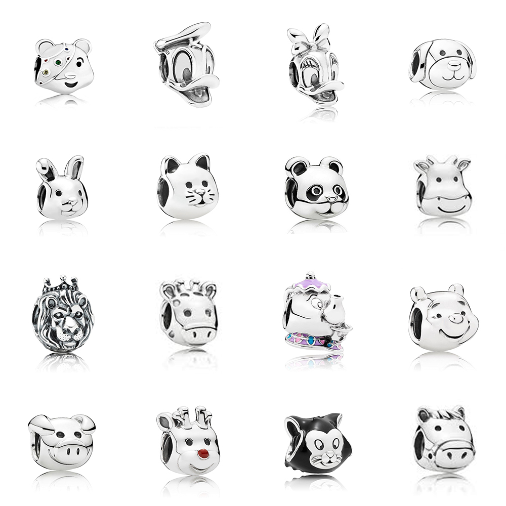 New Charm 925 Sterling Silver Classic Donald Duck Lion Tiger And Other Animal String Ornaments Diy Bracelet Jewelry Gift