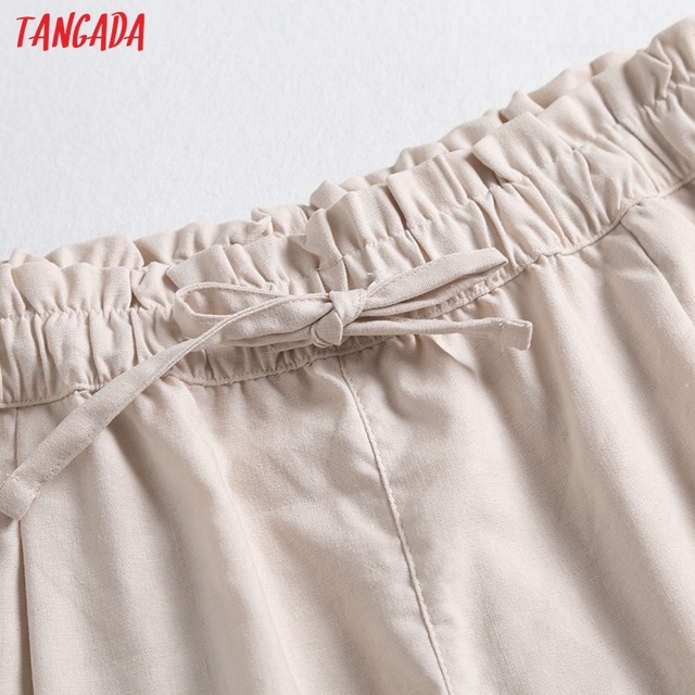 Tangada 2021 Summer Women Vintage Cotton Linen Shorts with Slash Pockets Female Retro Casual Shorts Pantalones 2E18 3