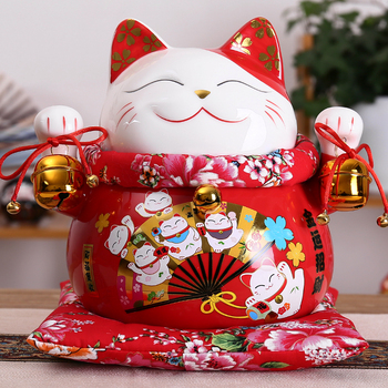 10 inch Ceramic Maneki Neko Ornament Lucky Cat Money Box Fortune Cat Figurine Porcelain Coin Bank FENG SHUI Decoration