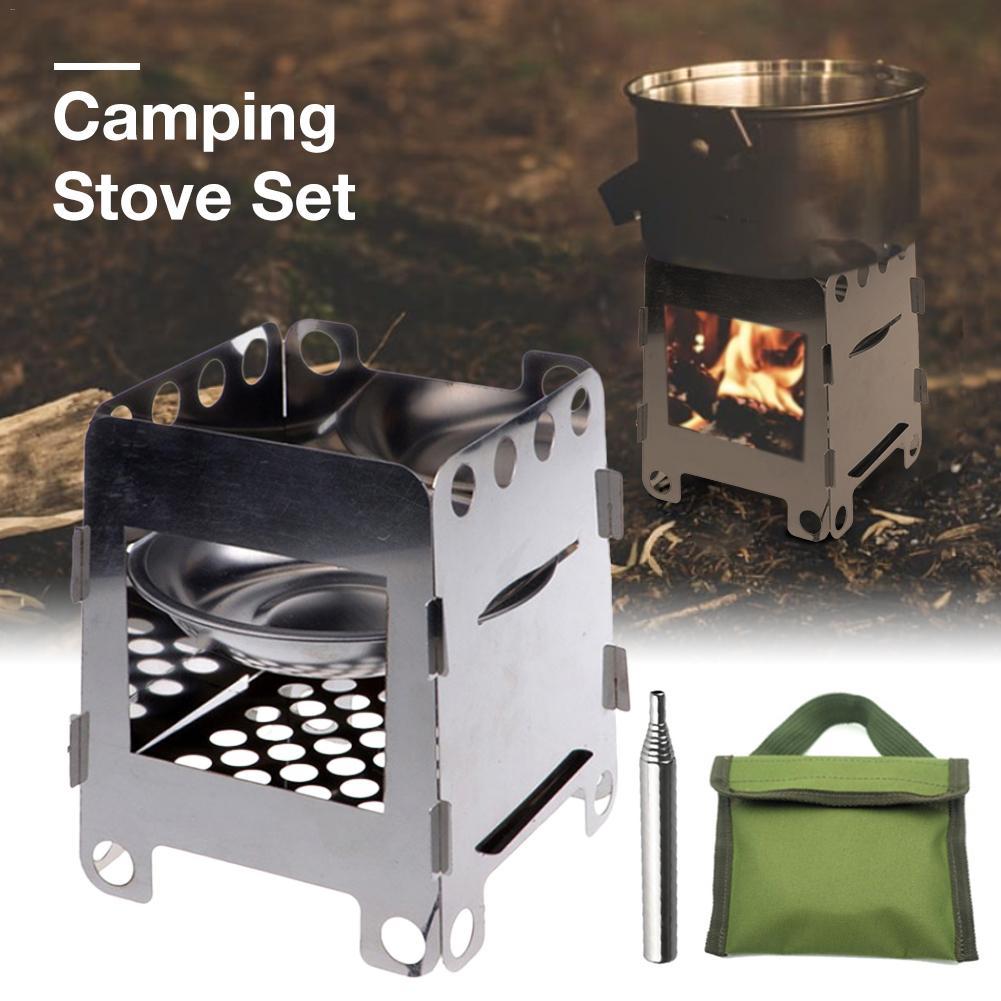 Compact Wood Burning Backpacking Stove Portable Folding Firewood Stoves