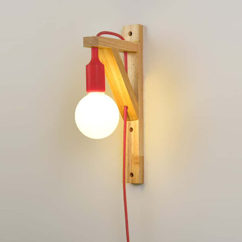 <font><b>Nordic</b></font> Indoor <font><b>Wood</b></font> LED <font><b>Wall</b></font> Lights Bedside Bedroom Aisle Energy Saving Sconces With External Plug Home Decor <font><b>Wall</b></font> Lights Fixture image