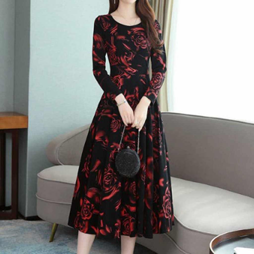 Herfst Winter Zwarte Vintage Bloemen Chiffon Midi Jurk Plus Size Boho Jurken 2019 Elegante Vrouwen Party Lange Mouw Jurk # p30