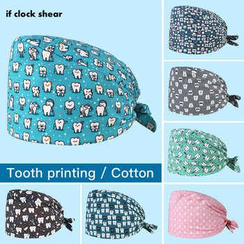 Uni scrubs caps Adjustable cotton tooth printing hats High Quality adjustable sweat-absorbent Elastic multicolor scrubs hats