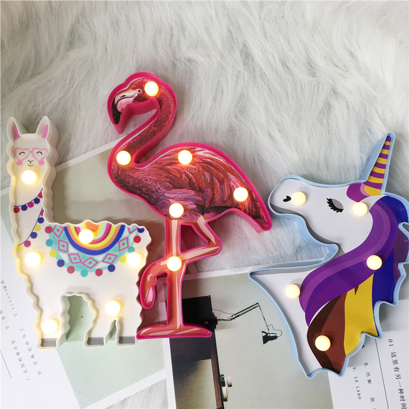 2019 Update New Night Lamp Alpaca 6 LED Hanging Desktop Decor Battery Powered Led Unicorn Flamingo Bedside Kids Sleeping Lights in LED Night Lights from Lights Lighting