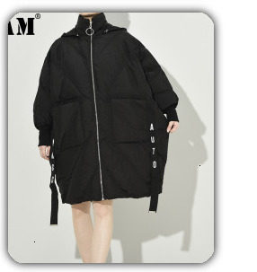 [EAM] Black Big Size Hooded Cotton-padded Coat Long Sleeve Loose Fit Women Parkas Fashion Tide New Autumn Winter 2019 1H886 47