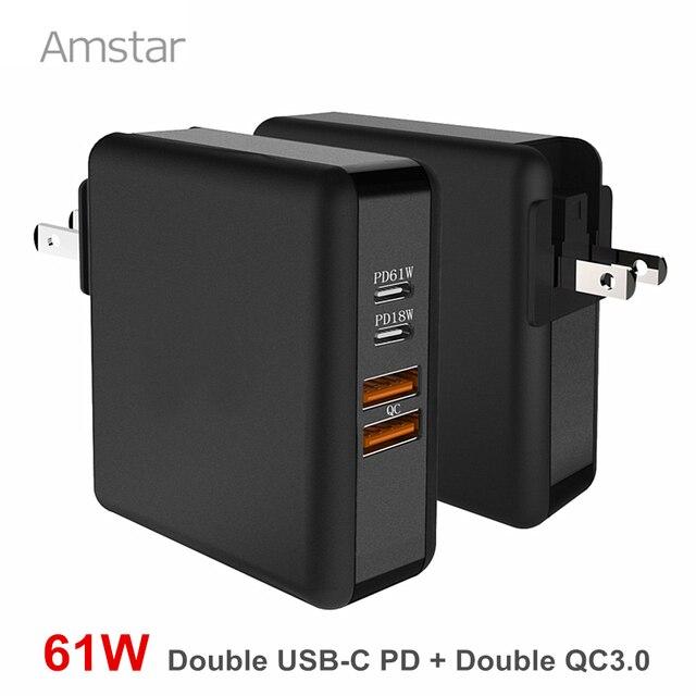 Amstar 61 w 듀얼 usb c 타입 c pd 고속 충전기 macbook pro air 화웨이 hp 노트북 태블릿 듀얼 빠른 충전 3.0 전원 어댑터
