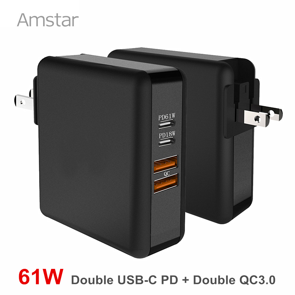 Amstar 61W Dual USB C Type-C PD Fast Charger for MacBook Pro Air Huawei HP Laptop Tablet Dual Quick Charge 3.0 Power Adapter