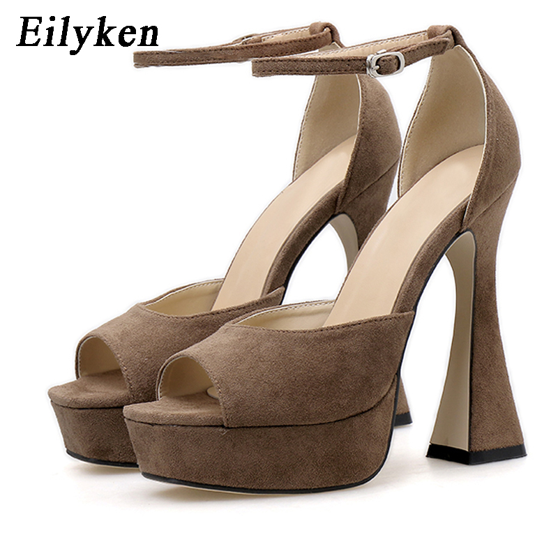 Eilyken Summer Sexy Sandals Open Toe Platform Thick Heels Woman Shoes Rome Style Leather Buckle Runawy Dress Heels Sandal