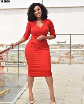 New African Dresses For Women Dashiki Robe Africaine Femme 2019 Ankara African Clothes Slim V-neck Evening Long Dress Clothing