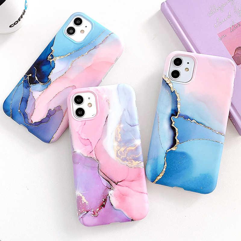 Granit Marmor Telefon Fall Für iPhone SE 2020 7 8 Plus X Weiche Künstlerische Textur Abdeckung Für iPhone 11 Pro X XS Max XR Zurück Shell