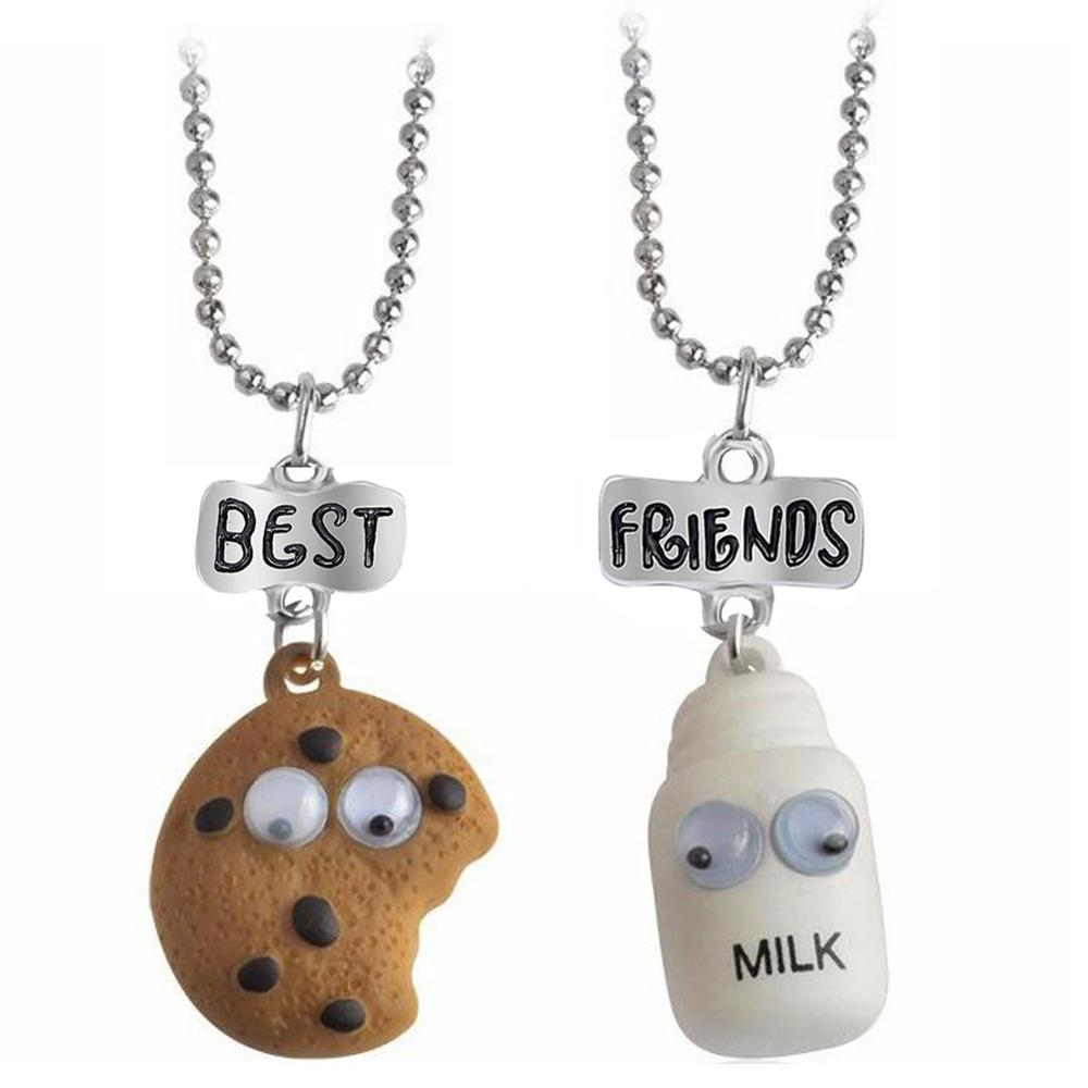 2 pieces / set of mini Oreo biscuits and coffee pendant necklace Best friend Cookies milk BFF gift food friendship jewelry(China)